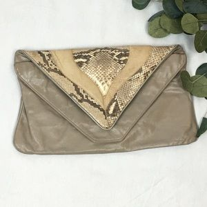 Vintage 80s clutch real snake & leather grey cream